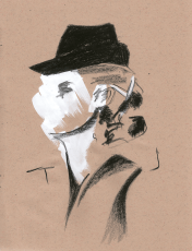 Lady in Black Hat - Grease Pencil, Gouache, 2014