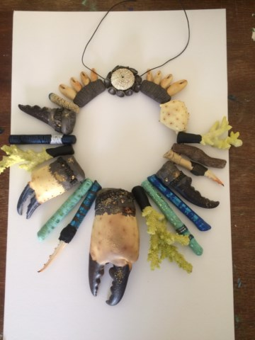 Debbie-Crothers-Polymer-Clay-Statement-Bold-Necklace-Crab-Claws-Coral-Sticks-Urchins-Ocean-Unique
