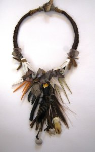 Debbie-Crothers-Polymer-Clay-Artist-Instructor-Shaman-Statement-Necklace-Grungy-Earthy-Organic-Tribal-Mixed Media-Crab Claw-Sea Urchin-Bold-Unique-Artisan