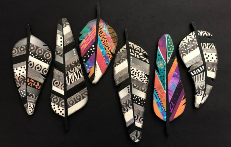 Debbie-Crothers-Feathers-Workshop-Outback-Tutorial-Polymer-Clay-Polymer clay-veneers-handmade-statement-art-necklace-brooch-pendant