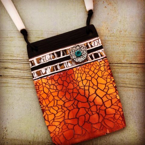 Debbie-Crothers-Polymer-Clay-Artist-Jewelry-Pendant-Necklace-Crackle-BOHO- contemporary-earthy-organic-artisan-statement-beads-tubes