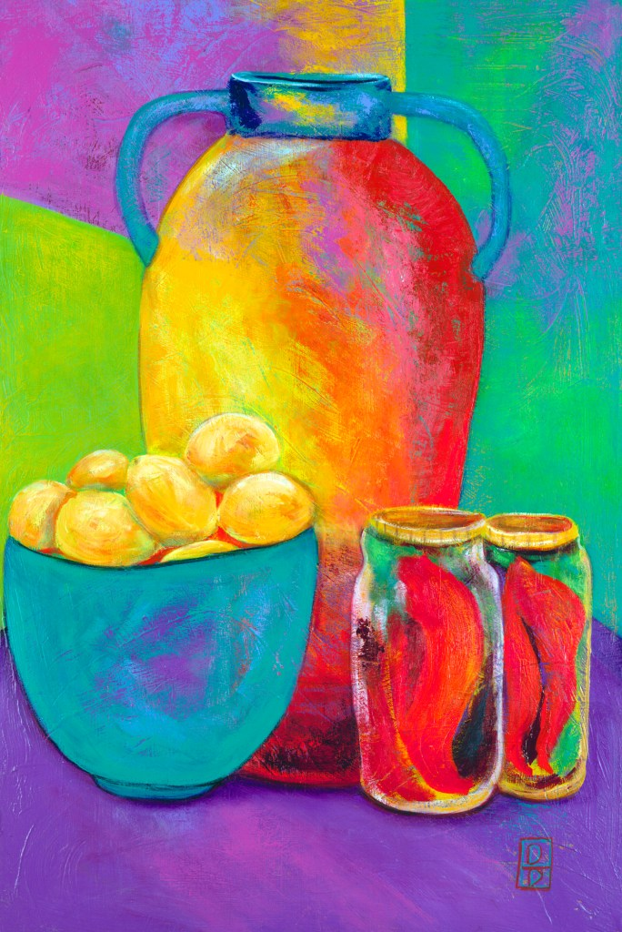 Rainbow Jugs With Lemons