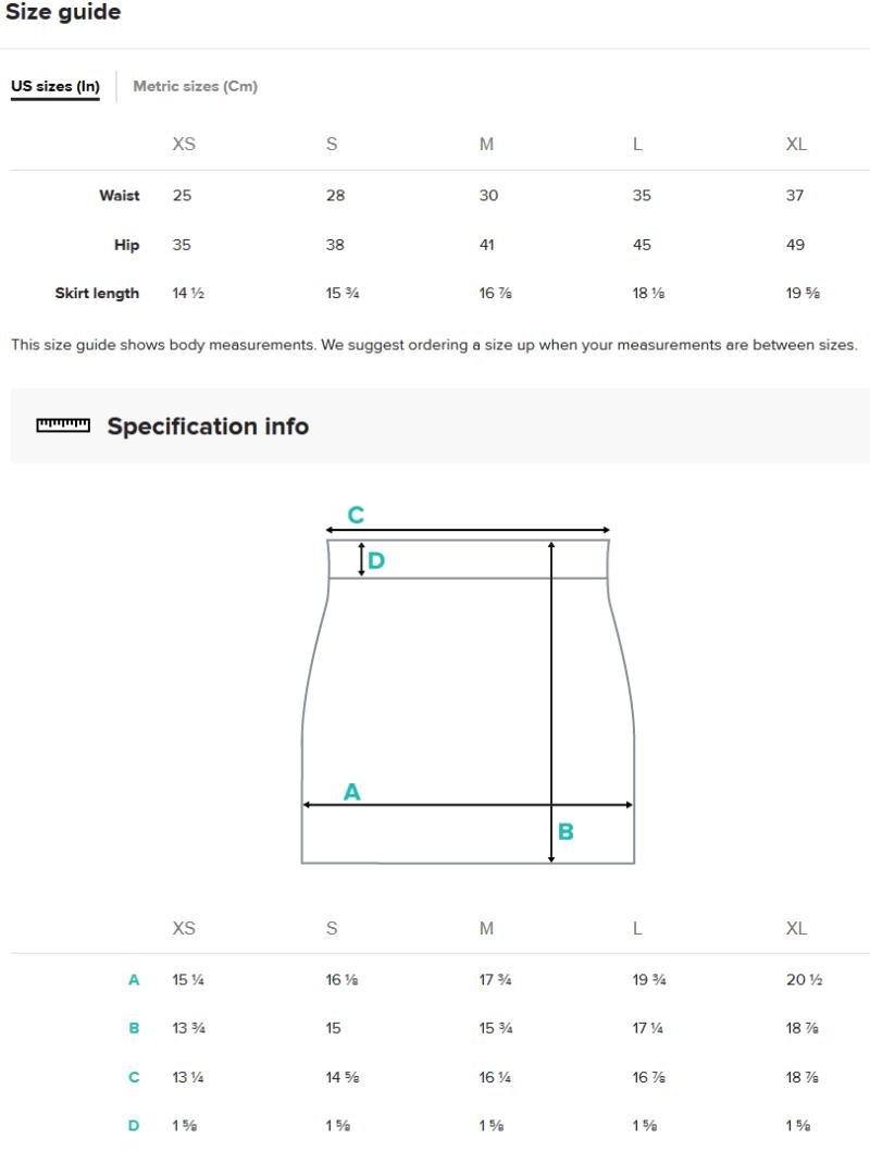 Miniskirt Size Guide