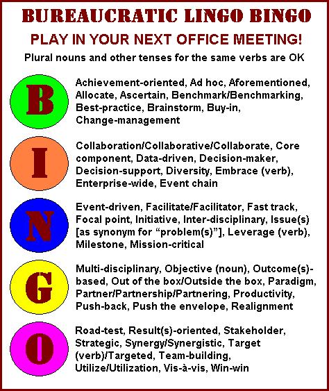 Bureaucratic lingo bingo