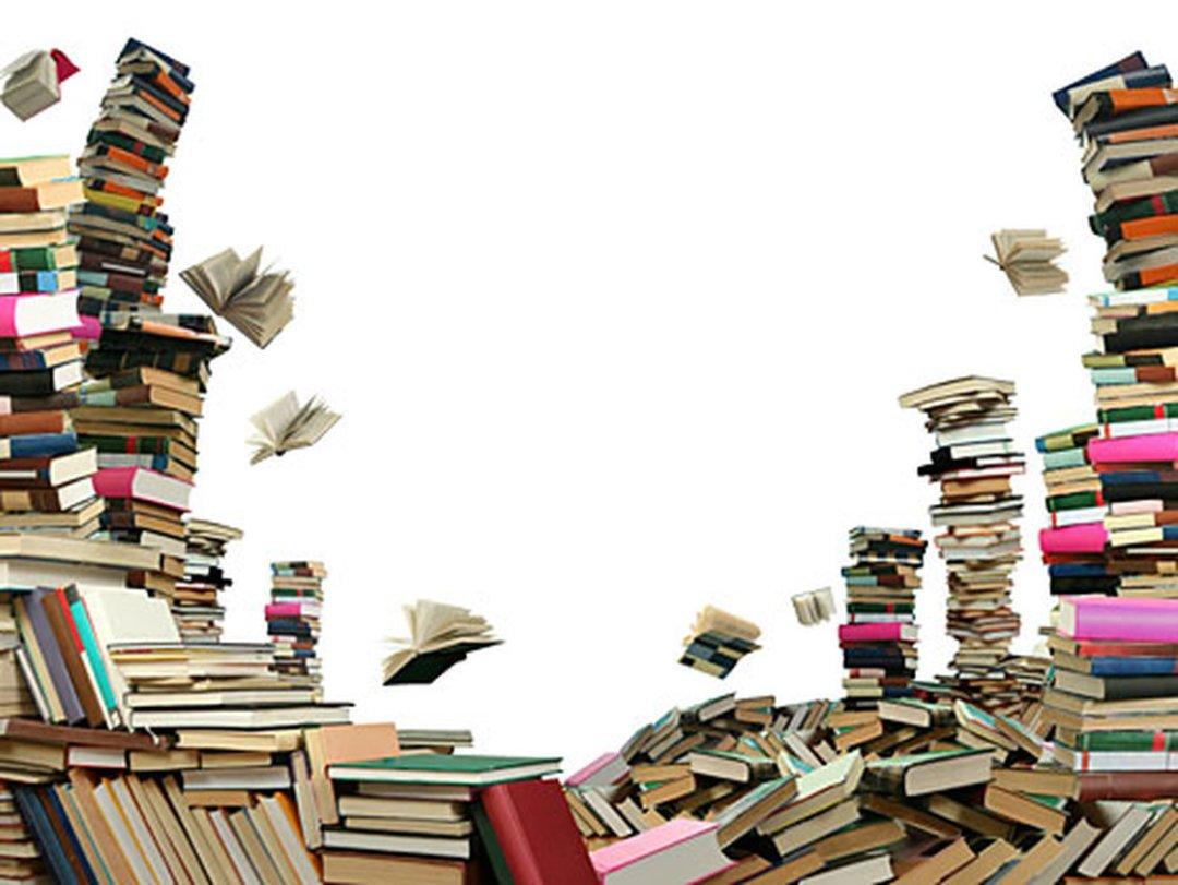 Vallende stapels boeken.