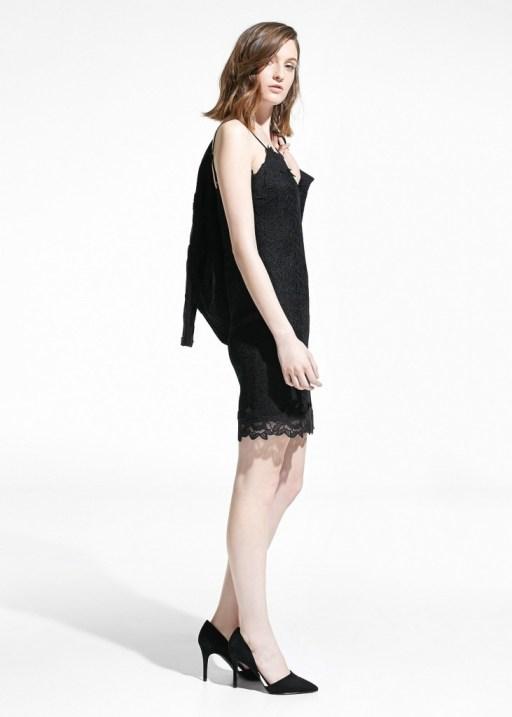 mango vestido negro encaje