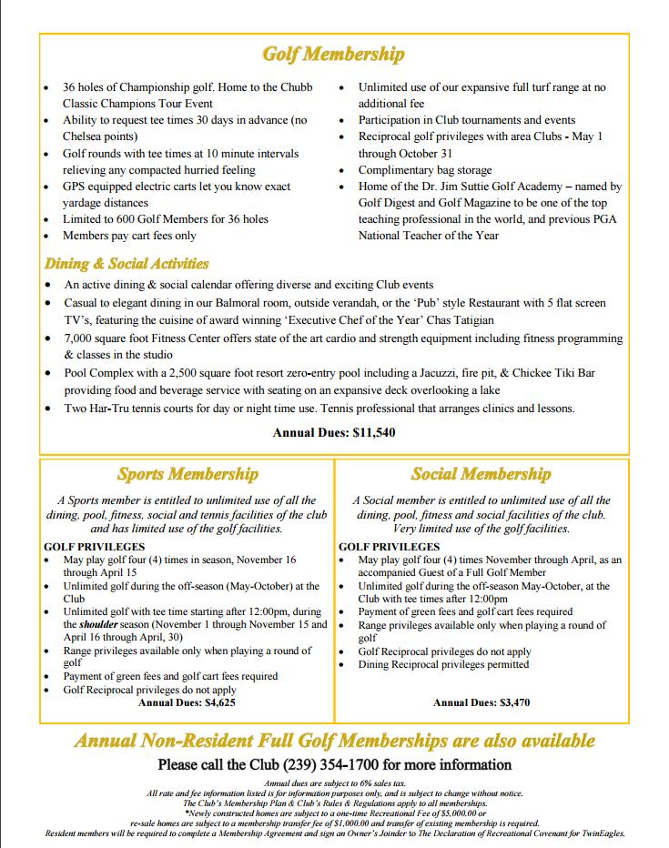 Twin Eagles Membership Brochure