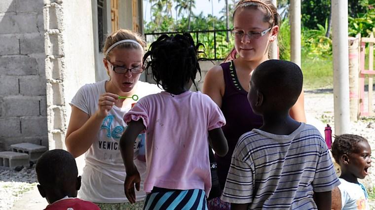 Playing with Haiti Children