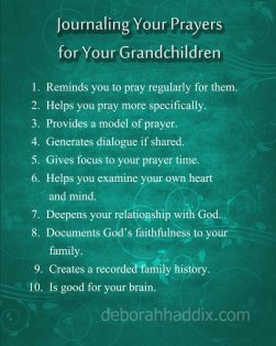 Journaling Your Prayers helps you become more intentional, consistent, and specific in praying for your grandchildren.
