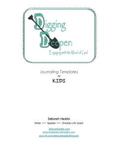 Digging Deeper Kids Journaling Templates Cover