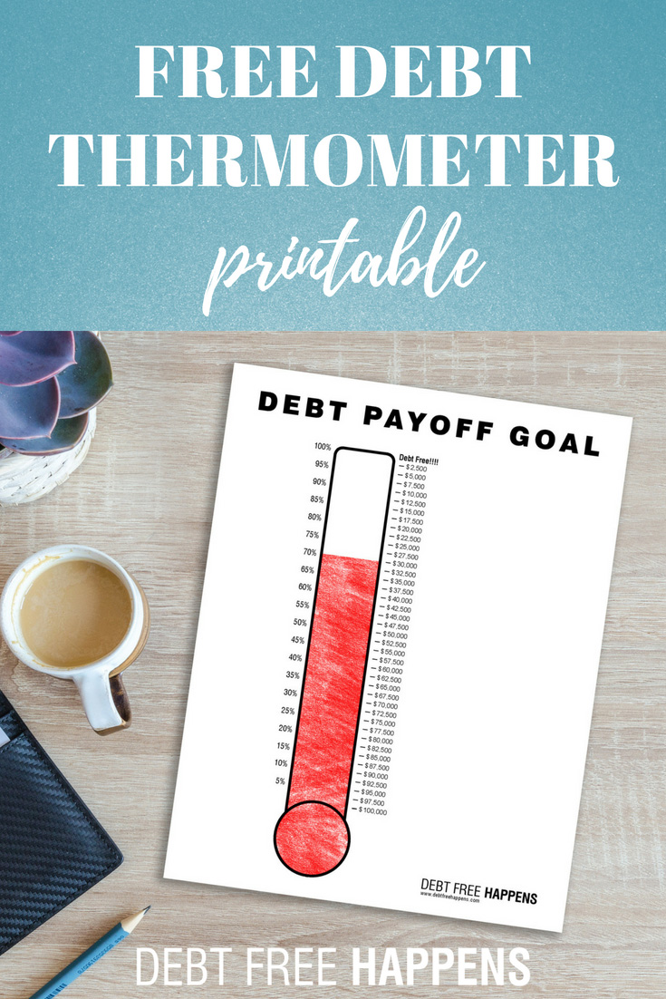 graphic about Debt Payoff Printable named Cost-free Credit card debt Thermometer Template