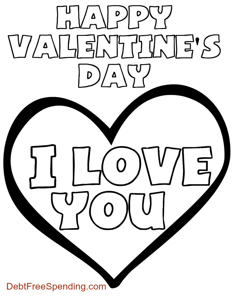 """valentine's day """"i love you"""" coloring page  debt free"""
