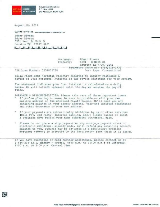 debt payoff letter from wells fargo bank