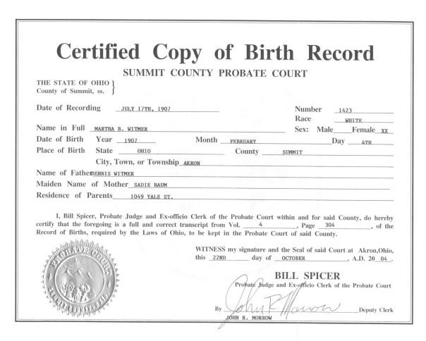 live birth certificate