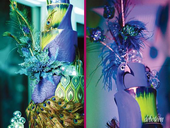 Azul Tiffany, roxo e verde - Festa Peacok