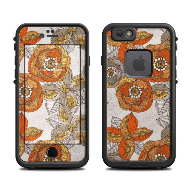 Lifeproof Iphone 6 Fre Case Skin Orange And Grey Flowers