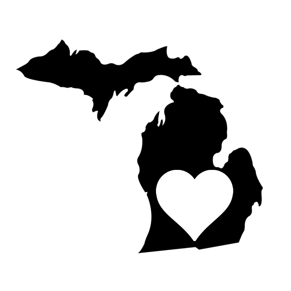 Michigan Heart State Silhouette Vinyl Sticker Car Decal