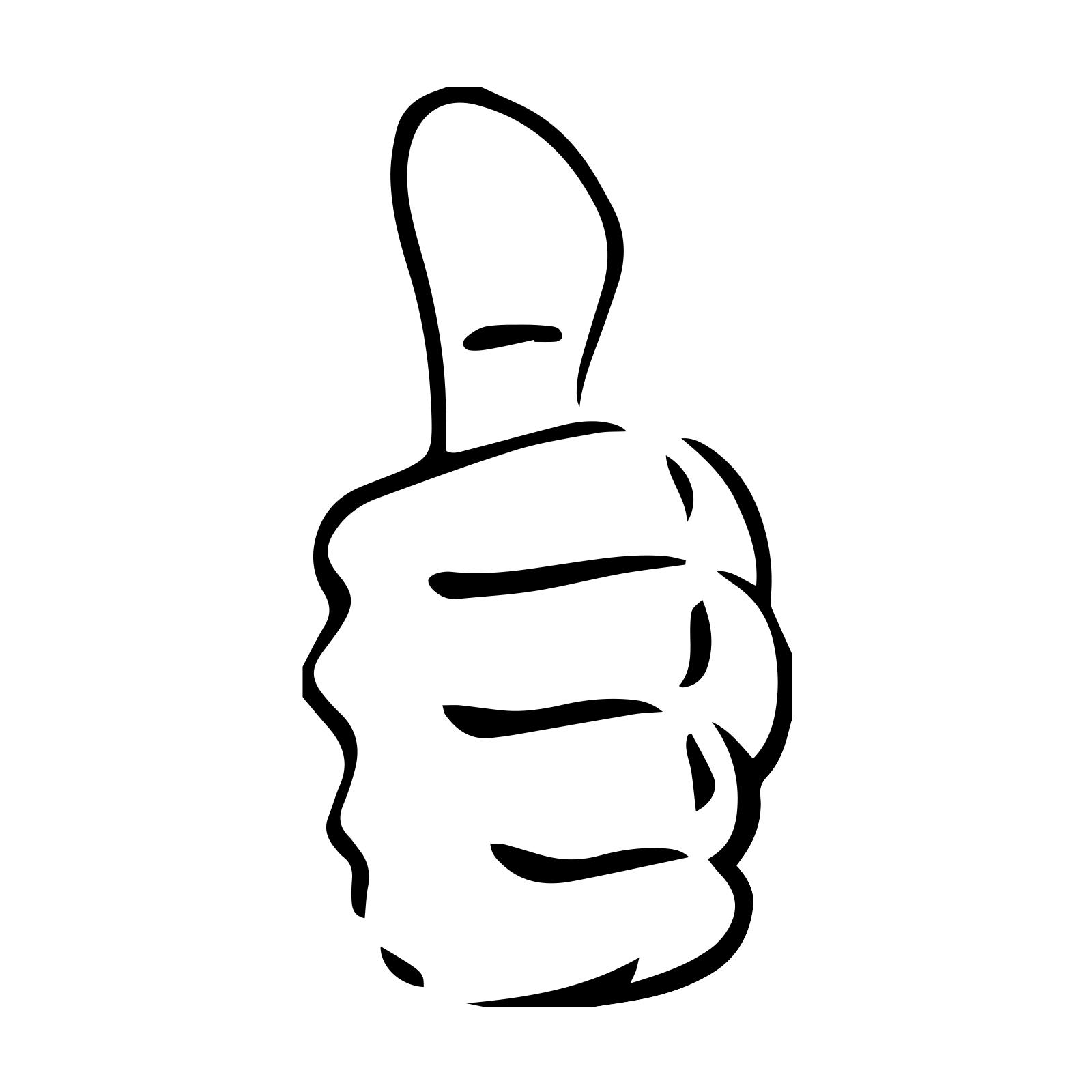 Thumbs Up Hand Symbol Snowboard Sticker All Weather Vinyl