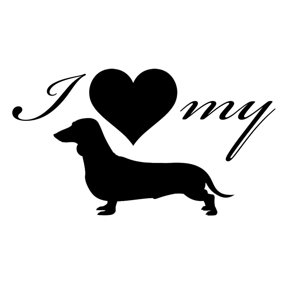 Download I Love My Dachshund Weiner Dog Silhouette Heart Vinyl ...
