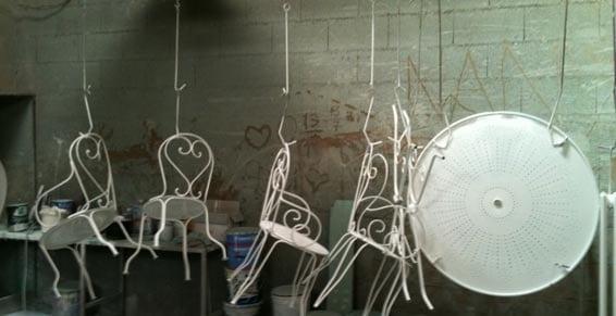 peinture ou thermo laquage de mobilier de jardin en fer