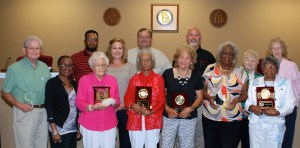 Being honored for more than 20 years serving as poll workers are, from the left, front row, Bobby Davis, Board member Beverly Holmes, Fannie Boutwell, Mary Jacobs, Janelle Nelson, Ethel Fuller and Anna R. Washington; back row, Board members Willie Lamb Jr., Gina Burke, Wendell Cofer and Keith Sellars, Chief Election Official Doris White and Frances Gray. Not pictured are A.E. Hester, Danny R. Harrell and Susie McCroan.