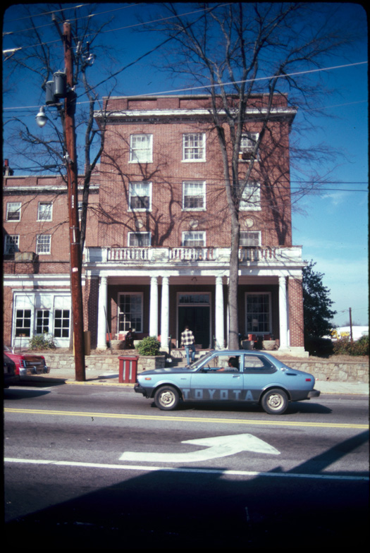 One Town Center was built on the site of the former Candler Hotel, pictured here, which had developed structural and upkeep issues.