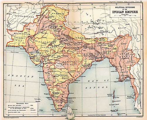 Map of the British Indian Empire from Imperial Gazetteer of India - 1909