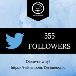555 followers at Twitter