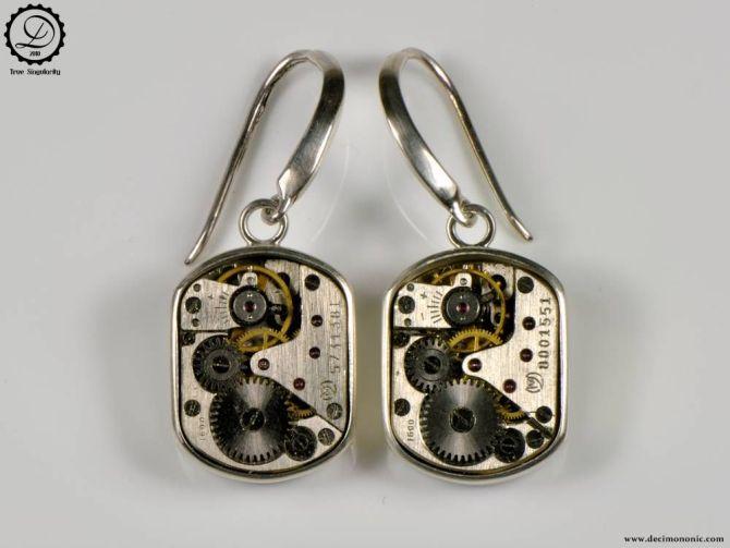 Decimononic - Beta earrings   Sterling silver Steampunk earrings