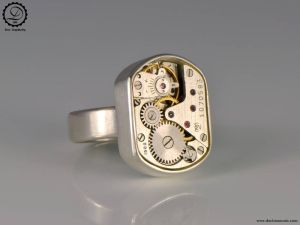 Tempus Fugit Collection: Beta Ring   Steampunk sterling silver ring by Decimononic
