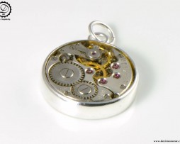 Alpha Charm by Decimononic - Steampunk pendant with vintage watch movement