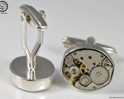 Decimononic Pez cufflinks by Decimononic | Sterling silver cufflinks with vintage watch movement