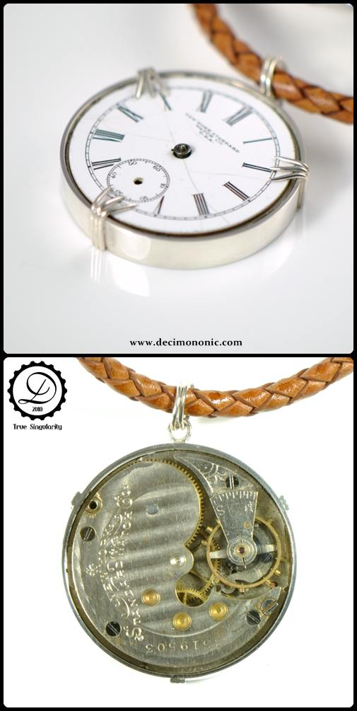 Decimononic - Shikra pendant - sterling silver steampunk pendant with pocket watch movement