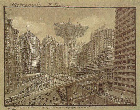 Metropolis - Opening cityscape v2 sketch - Erich Kettelhut