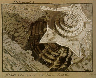 Metropolis - Turm Babel gouache on cardboard - Erich Kettelhut