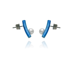 Blue titanium curved short bar post earrings with pearls - Nautilus Collection by Decimononic