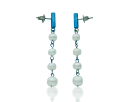 Blue titanium earrings 'rain of pearls' - Nautilus Collection by Decimononic