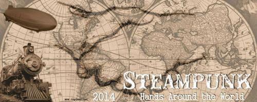 Steampunk hands around the world - banner by Ray Dean