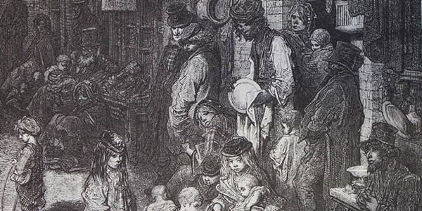Inner city Victorian poverty in Gustave Doré's Wentworth Street