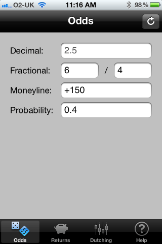 BetMachine odds converter screen