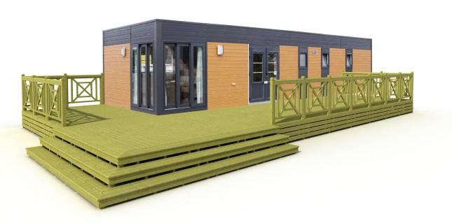 Terrasse bois pour mobil home avec escalier panoramique