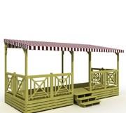 Terrasse mobil home couverte - bâche de toit bordeaux pastel rayé
