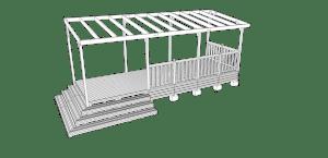 Terrasse couverte avec escalier panoramique 3 marches