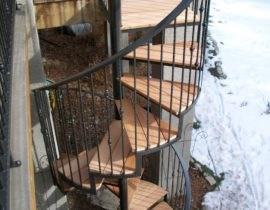 Deck Stairs Decks By Schmillen | Spiral Staircase Outdoor Deck | Outside Deck | Built Spiral Stair | Balcony Outdoor | Log | 3 Storey