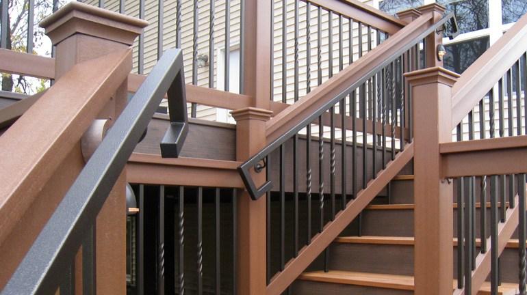 Metal Deck Handrails Deck Stair Railing Aluminum Steel | Ada Compliant Exterior Handrails | Stainless Steel | Deck Railing | Extension | Vinyl | Hand Rail