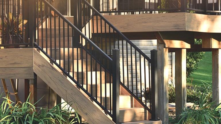 Metal Stair Railing Outdoor Porch Railing Decksdirect | Prefabricated Exterior Metal Stairs | Stair Case | Stairways | Aluminum | Wrought Iron | Stair Treads