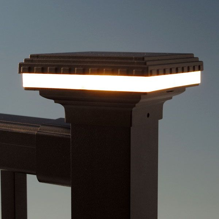 mini saturn led post cap light by aurora deck lighting