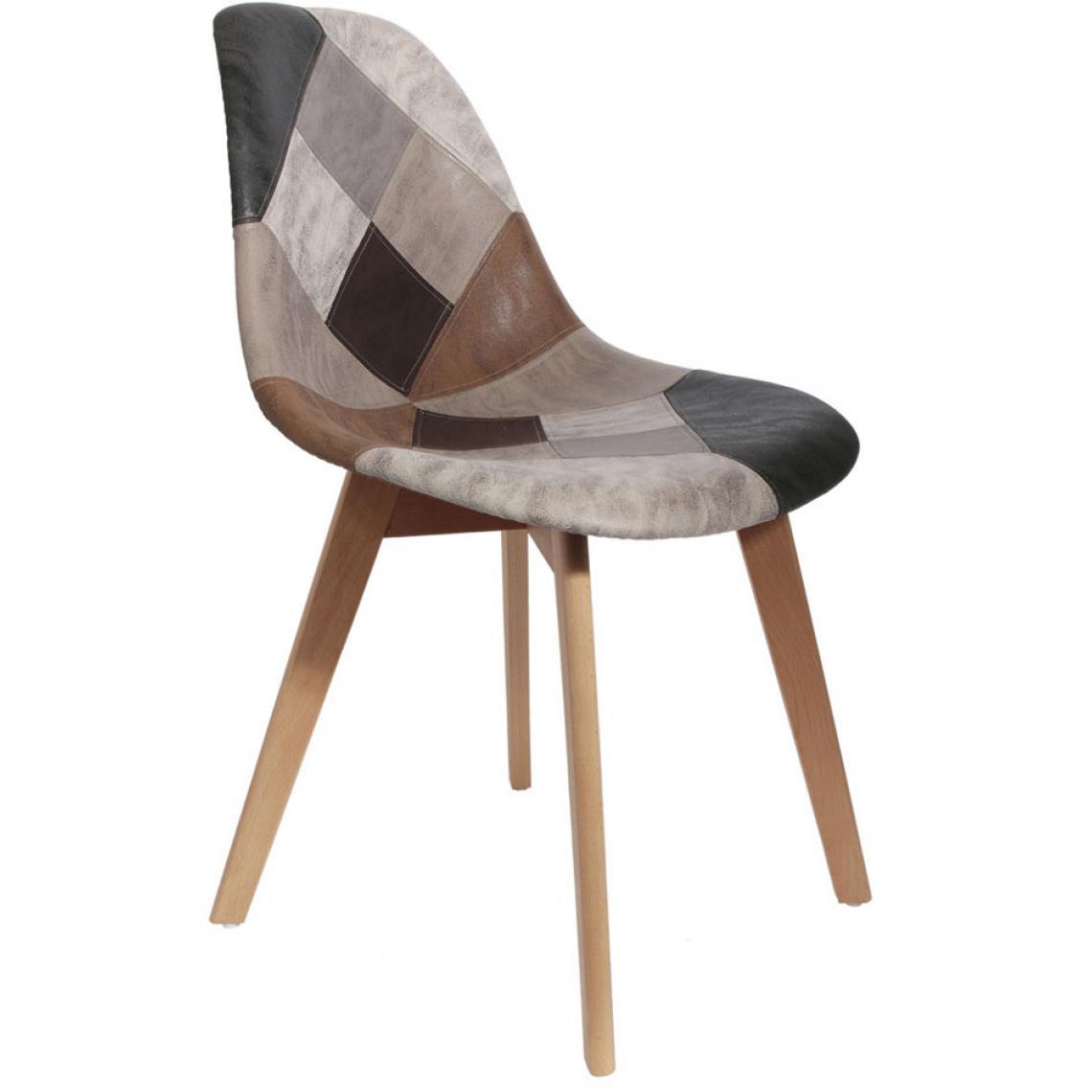 chaise scandinave patchwork marron fjord