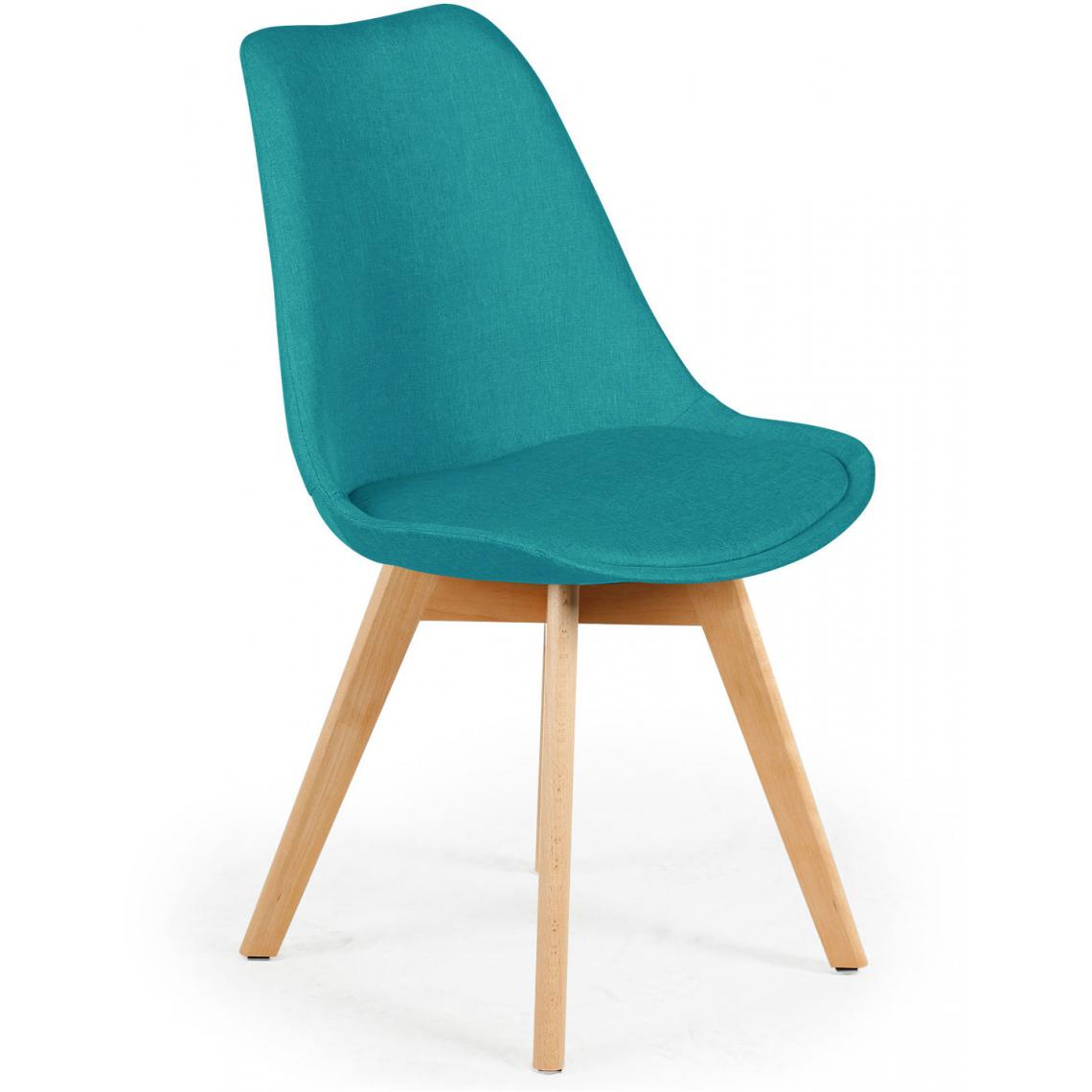 lot de 4 chaises scandinaves en tissu bleu vert esben