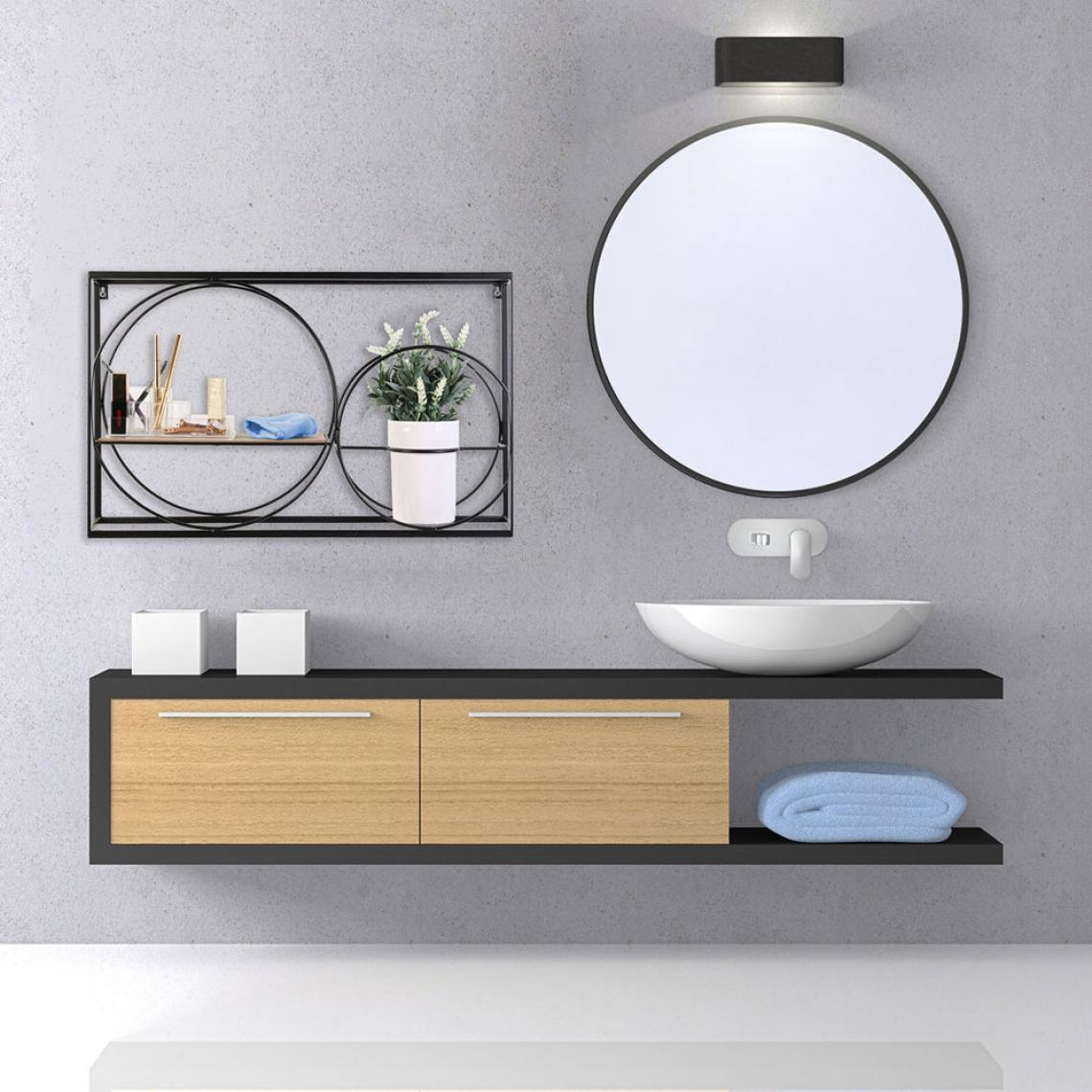 etagere murale rectangulaire avec 2 cercles en metal noir harry